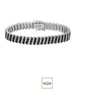 Beautiful Black Diamond Sterling Silver Bracelet